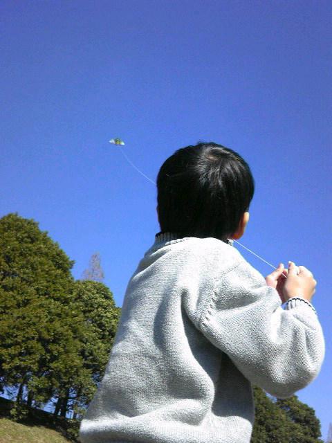 本番前の凧揚げ